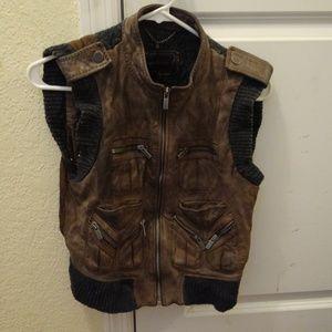 BCBG Max Azaria Distressed leather Vest XS S 0 2